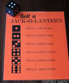 Roll a Jack-O-Lantern game for Halloween party...instead of doing all the magnets, just use construction paper, then the kids can keep the pumpkin when they're done