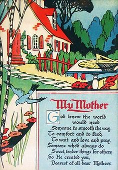 My Mother poem, 1920's or 1930's style