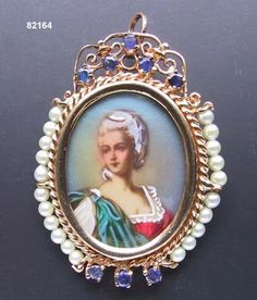 Hand Painted Miniature Portrait On Porcelain, Mounted In 14k Flligree Gold, Sapphire And Pearl Pin/Pendant  c.1950's