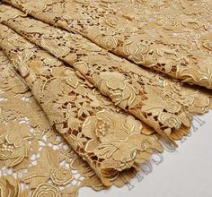 Gold Lace Fabric, Ghana Wedding, Bobbin Lace, Material Girls, Bridal Lehenga, Fabric Online, Fashion Colours, Lace Trim, Hand Sewing
