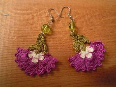 crochet earrings purple flower by PashaBodrum on Etsy