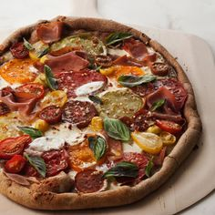 Basil and Tomato Pizza with red and Yellow peppers
