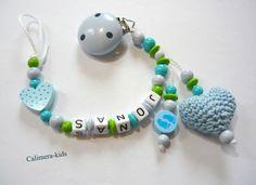 Schnullerkette mit gehäkeltem Herz 3D / blau  von Calimera-Kids - Schnullerketten auf DaWanda.com