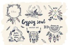 Ad: Gypsy Soul Set by Angelina De Sol on GYPSY SOUL SET: Hand drawn bohemian style elements set can make your design project stylish and trendy. It is great set for boho style Boho Tattoos, Dream Tattoos, Bohemian Tattoo Ideas, Tatoos, Skull Tattoos, Gypsy Soul Tattoo, Caligraphy Alphabet, Tattoo Flash Art, Symbolic Tattoos