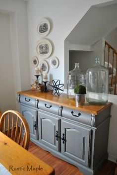 Oak buffet makeover painted with Country Chic Paint Cobblestone and Natural Wax via Rustic Maple