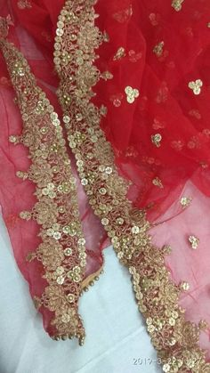 Red with Gold Dupatta Designer Chunni Stole Scarves Embroiderd Net for Lehenga Suit Salwar Kameez for Women and Girls Party Wear Ethnics Zardozi Embroidery, Bead Embroidery Patterns, Embroidery Suits Design, Beaded Embroidery, Bridal Dupatta, Pakistani Bridal Dresses, Lehenga Suit, Saree Dress, Girls Party Wear