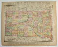North Dakota Map South Dakota 1897 Vintage Map, Genealogy History Gift, Wedding Prop Map, Birthday Gift Idea available from OldMapsandPrints on Etsy