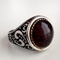 Turkish Ottoman Style Red AMBER Men's Ring 925 Sterling Silver size 9.75 #Unbranded #Statement