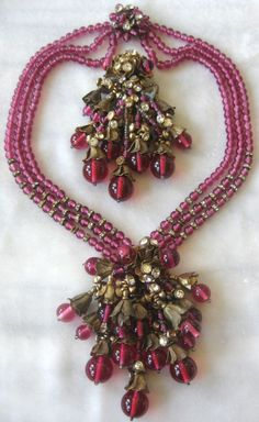 Raspberry Glass and Rhinestones Very Early Miriam Haskell Demi-Parure.