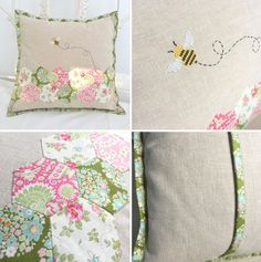 "The Bumblebee blog hop arranged by Sewandso wraps up today with this adorable spring pillow made by the talented Jooles ""Sew Sweet Violet"". Check out the gorgeous things the other participants made he"