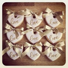 Wedding favours, love biscuits, by Anna Tyler Cakes