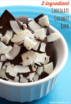 In the mood for something decadent Make this 2 ingredient chocolate coconut bark! Easy and delicious.