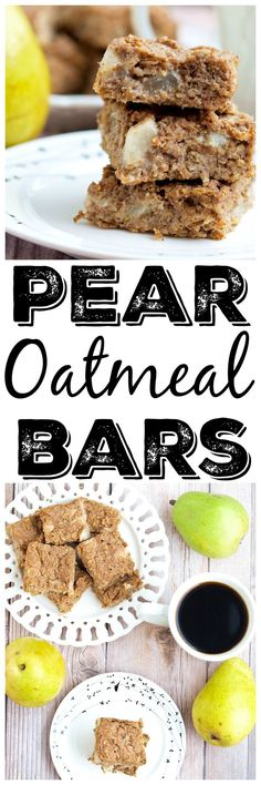 Fruit sweetened pear oatmeal bars recipe.  These Pear Oatmeal Bars are made with NO added sugar, are vegan, and gluten-free.  They make a perfect healthy breakfast or snack!  Great for kids and toddlers, too.