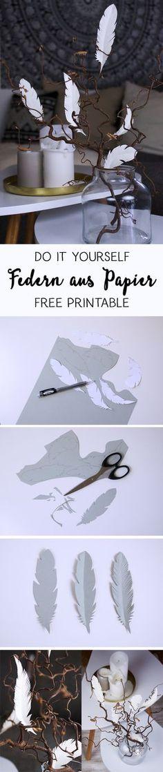 {DIY} Deko-Tipp mit Federn aus Papier // free printable
