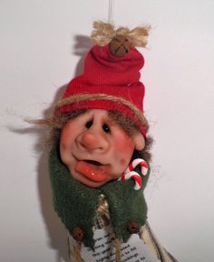 Handmade Christmas Tree Ornament Santa Elf Helpers SS16-11-1 by HangingTheOrnaments on Etsy