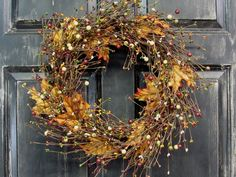 Fall Wreath  Fall Floral & Berry Wreath  BURLAP