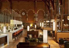 The Booking Office Bar - St Pancras, reviving the tradition of the station café that can draw the crowds, the Booking Office's cathedral-like drama, 29m-long bar and fresh English fare are conversation-starters.
