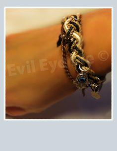 BrownBlackBeige Khamsa Bracelet by EvilEyeMe on Etsy, $19.99