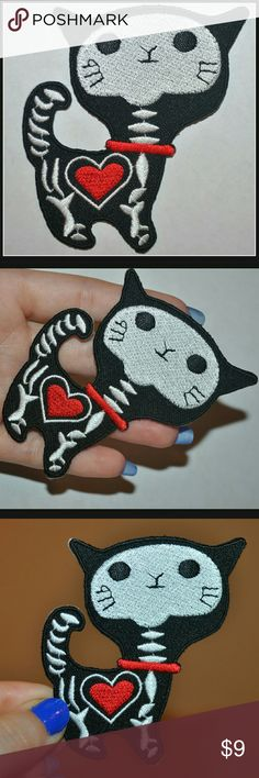 Skeleton Kitty Patch ❤ Adorable!!!!  Brand New - iron on // tags: spooky cute accessories trends trendy trend cool badass neat rad awesome amazing diy patches lot bundles bundle dark alternative punk pets rock metal pet boo halloween custom bnwot nwot cats cat black red white unique unisex craft witchy witch hearts heart meow feline kittens kitten sweet love skeletal morbidity morbid skeletons skull animal animals gothic goth rebel rockabilly psychobilly Accessories