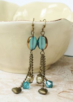 Long Dark Turquoise Earrings with Antique Gold Chain, Gold Hearts, & Champagne Glass Pearls on Etsy