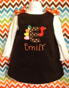 Thanksgiving outfit for babies toddlers and little girls on Etsy, $35.00