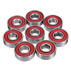 10pcs Red Sealed Deep Groove Skateboard Ball Bearing 608 2RS 8x22x7mm
