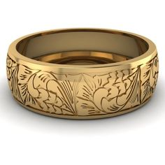 14K Yellow Gold Mens Wedding Band || Intricate Pattern Band