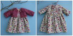 """Um vestido de estilo wrap-over feito com um pano de veludo Liberty of London e um cardigã de seda / mohair de malha à mão.  Vai caber uma boneca de 16 """"."""