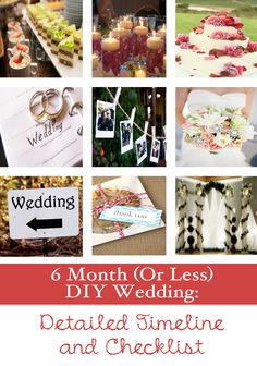 6 Month (or Less) DIY Wedding Checklist  Timeline- (Australian based marriages don't have to worry about getting your Marriage licence, only USA)
