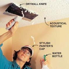 Scrape a textured ceiling with a drywall knife - some day i want to get rid of ALL THE POPCORN!!!