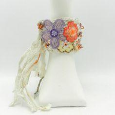 Fabric Crochet Cuff Bohemian Style Hippie Jewelry by AlbinaRose, $42.00