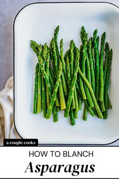 Here's how to blanch asparagus! Cook until it's perfectly tender and bright green, then plunge it into an ice bath. | asparagus recipes | side dishes | vegetarian recipes | vegan recipes | dairy free recipes | gluten free recipes | spring recipes | #blanchasparagus #asparagus #easyasparagusrecipe Vegan Recipes Plant Based, Dairy Free Recipes, Vegetable Recipes, Vegetarian Recipes, Cooking Recipes, Cooking Tips, Gluten Free, Healthy Food Options, Healthy Dessert Recipes