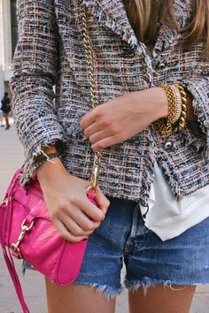 chanel jacket, rebecca minkoff bag, levi's cutoffs