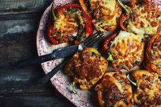 Poivrons farcis aux champignons, courgettes et saucisses italiennes - Le Coup de Grâce