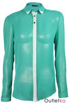 Nowa szyfonowa koszula Atmosphere koloru zielonego z białym pasem. Koszula niezwykle gustowna i elegancka, na długi rękaw. Rękawy, i góra zapinane na guziki w złotym kolorze. Koszula posiada biały kołnierzyk, rogi zakończone w białym kolorze. Z kompletem firmowych metek Atmosphere. Hit w Wielkiej Brytanii.