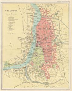 Art Prints North; Howrah Kolkata 1900 Old Antique Vintage Map Plan Chart Smart India Maps, Atlases & Globes