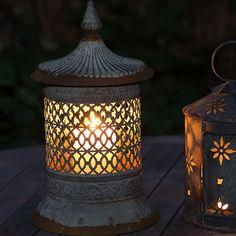 garden lantern- Moroccan style ornate metal lantern