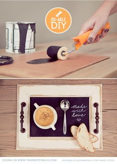 Decor Hacks :     Make a tray from an old frame. Need a frame – paint of decorate, frame a get-well card, message or pretty pic or photo to personalize it; screw 2 door handles into the wood … and you've got a tray    -Read More –