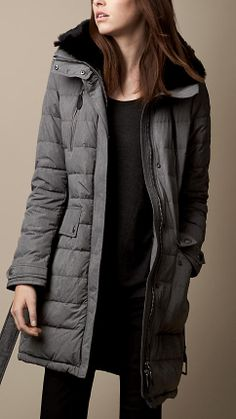 Fur Trim Belted Puffer Coat | Burberry