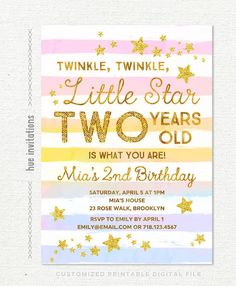 Twinkle Little Star Birthday Invitation Girl Rainbow 2nd Party Gold Gl