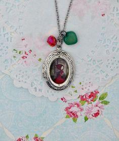 Little red riding hood fairy tale -Handmade photo locket necklace,wearable art jewelry,pop surrealism necklace,heirloom pendant