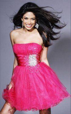 Strapless Short Prom Dresses for 2013 Flirty A-line Coral