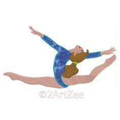 Gymnastic Horizontal Aerial Split Leap Gymnast Applique by 2artzee