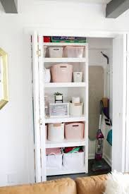 How I Organized My Hall Closet in One Afternoon! - A Beautiful Mess - Linen Closet - Powder Room or Laundry Room Storage - Organizing Tutorial - Entry Storage Laundry Room Storage, Closet Storage, Closet Organization, Classy Closets, Hall Closet, Bathroom Closet, Beautiful Mess, Ladder Bookcase, Storage Containers