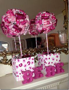 Pink Ribbon Topiaries