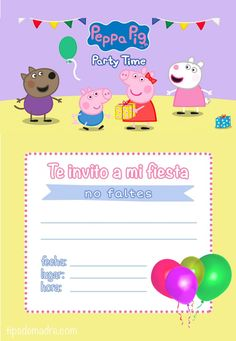 Invitacion Peppa Pig, Cumple Peppa Pig, Mini Mouse, Party Time, Projects To Try, Invitations, Parties, Sink, Mariana