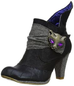 Irregular Choice Miaow Black Grey Purple Leather Womens Shoes Boots
