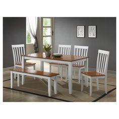 Bloomington 6 Piece Dining Set - White And Honey Oak - Boraam