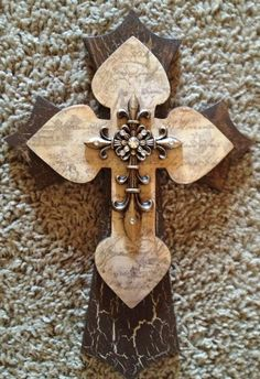 Decorative Stacked Wooden Cross by TheLaziDaizy on Etsy, $15.00