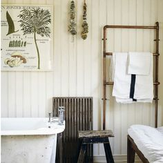 Numerous botanical illustrations, framed simply on one feature wall. Rustic duckboard, which acts as a bath matt. Whippet Grey sells botanical charts and Drummonds sells similar reproduction baths.